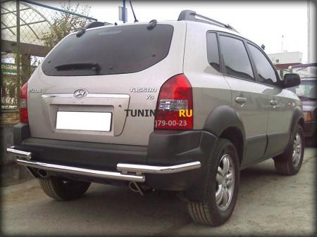 Hyundai Tucson 2004-2010г.в.-Защита заднего бампера d-53 двойная с угловой защитой